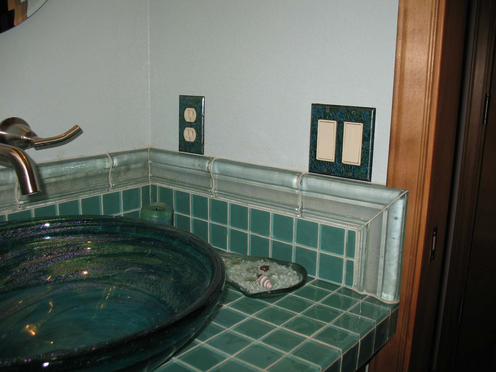 Sea greens Decora switch plate in bathroom