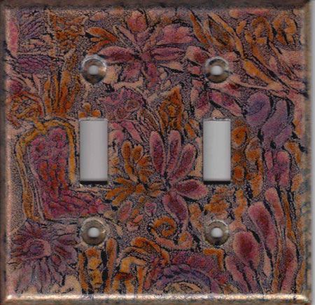 Red and pink images lined with black double art switch plate