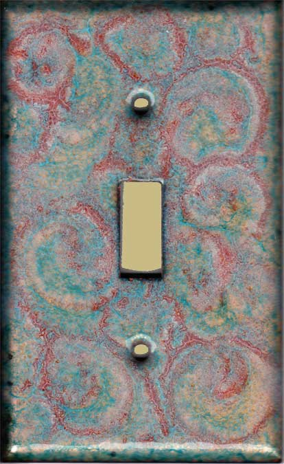 Orange and Copper Green Swirl artisan switch plate cover