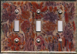 Purple, red and oranges triple toggle art switch plate cover