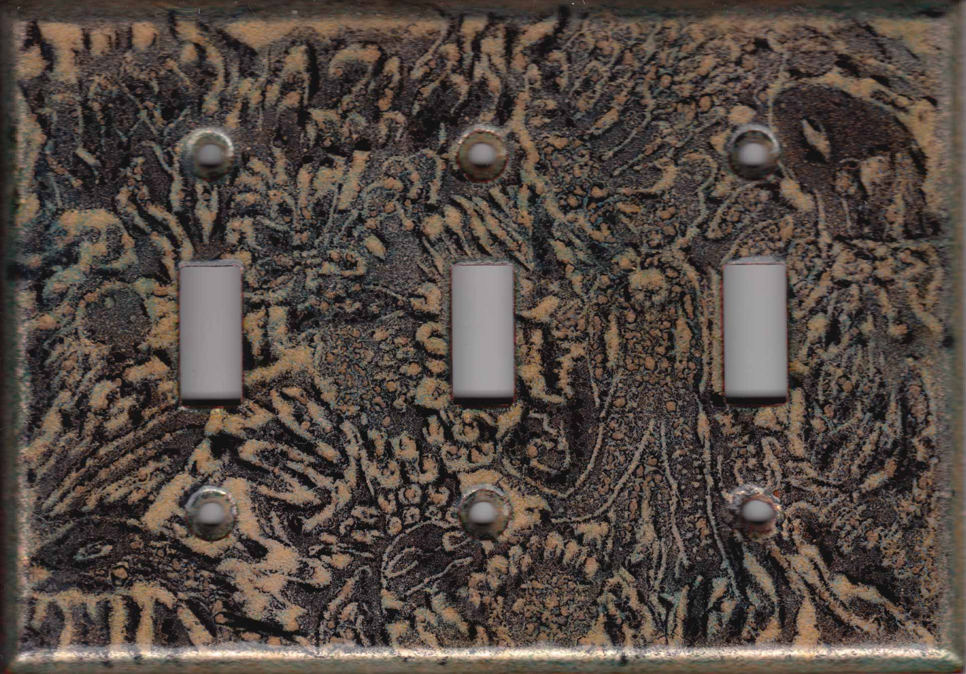 Black Art on Foil triple switch plate cover