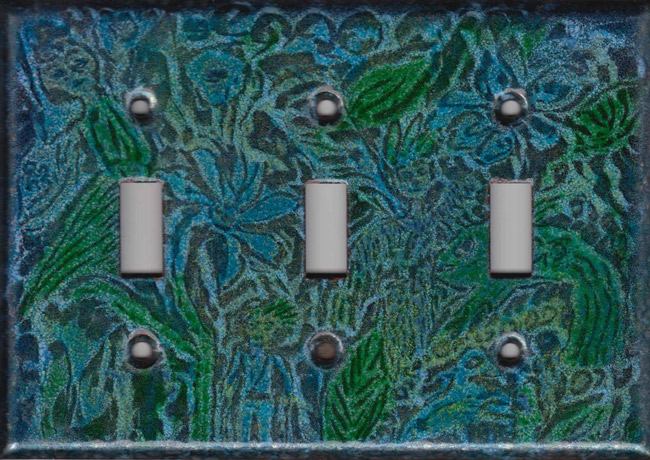 Sea Green Color Images triple toggle art switch plate