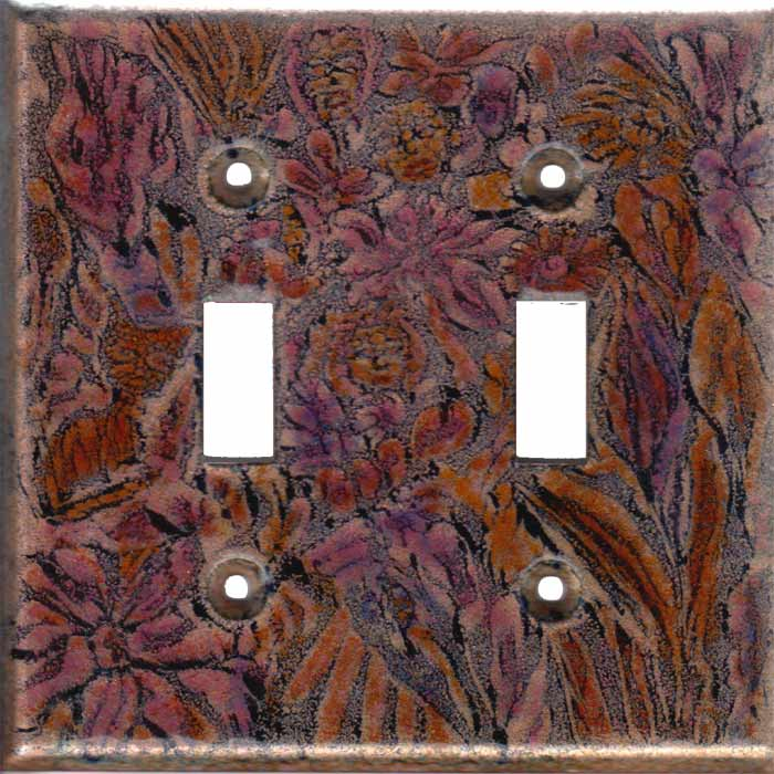 black images with red orange and green art switch plate - Decorative Switch Plates