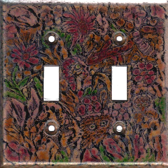 Black images with Red, Orange and green art switch plate