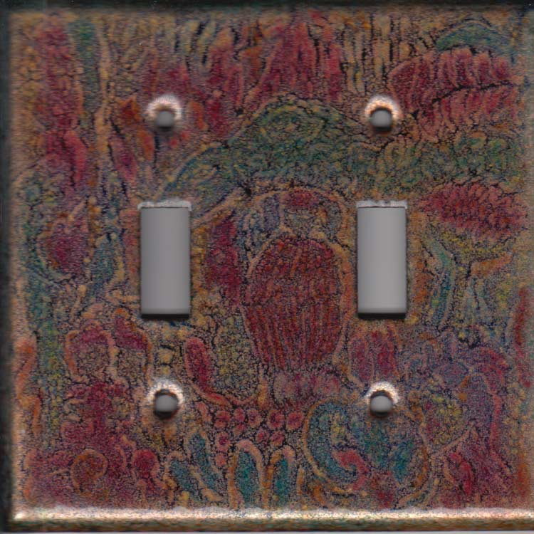 Black images with Pink, Orange and green art switch plate