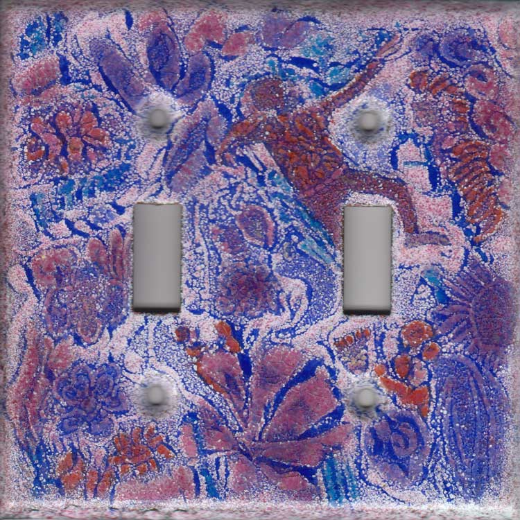 Red and Blue Images on Cobalt art switch plate cover