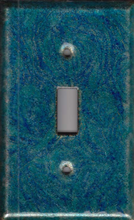 striated dark blue with aqua blue decorative switch plate covers