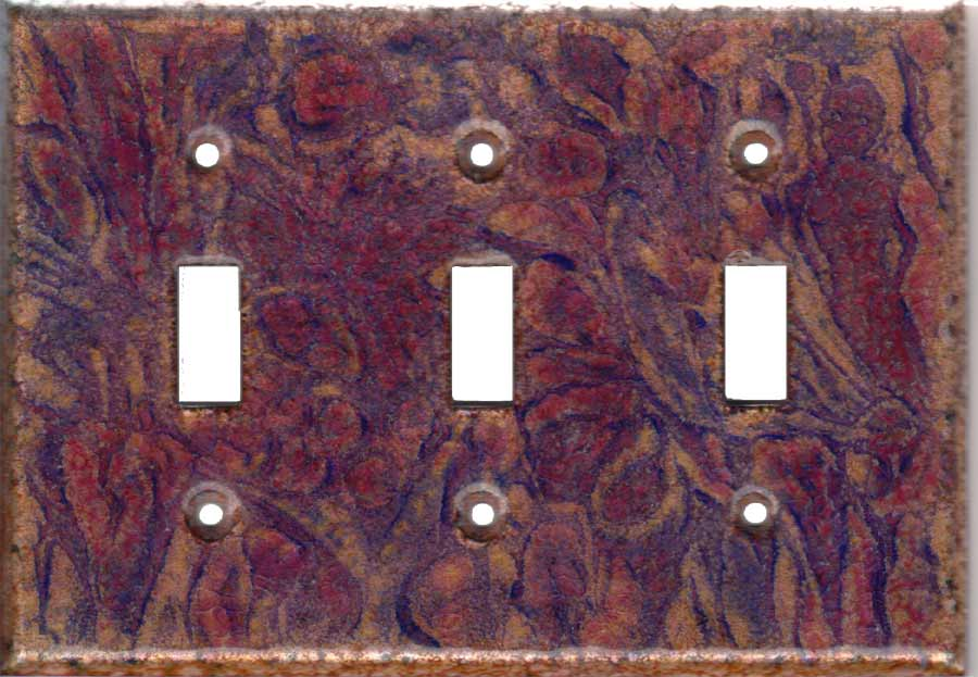 Purple images with red and purple: triple toggle art switch plate